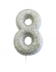 Candelina numero 8 brillantini argento