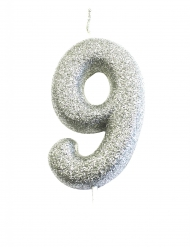Candelina numero 9 brillantini argento