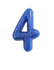 Candelina blu con brillantini numero 4
