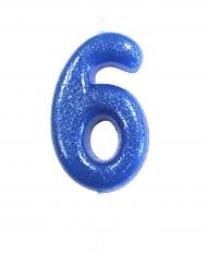 Candelina blu con brillantini numero 6