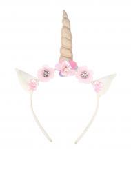 Cerchietto unicorno oro con fiori bianchi e rosa bambina