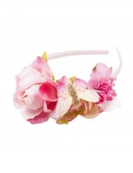 Cerchietto con fiori rosa bambina