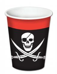 8 bicchieri in cartone pirata con teschio
