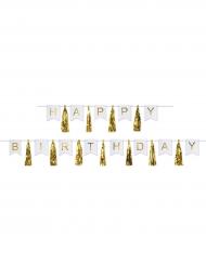 Ghirlanda Happy Birthday bianca con pon pon oro