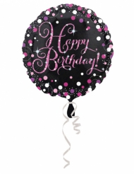 Palloncino alluminio Happy Birthday nero e fucsia