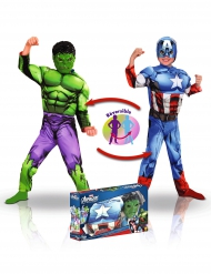 Costume double face Hulk™ e Captain America™ bambino