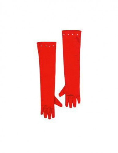Guanti rossi e lunghi da bambina