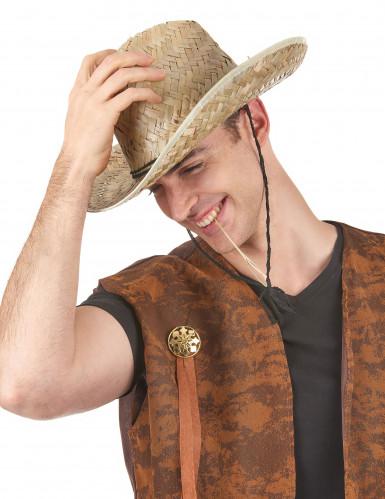 Cappello di paglia cowboy adulto-1