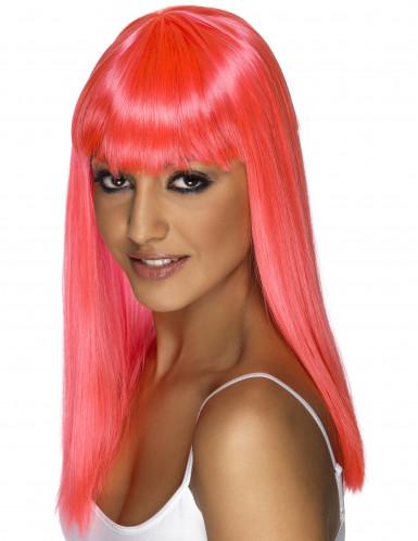 Parrucca lunga rosa da donna