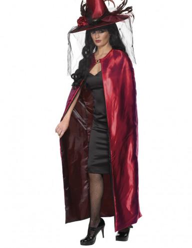 Mantello reversibile rosso e nero per adulto
