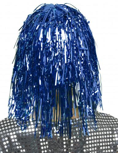 Parrucca adulto di colore blu metallizzato-1
