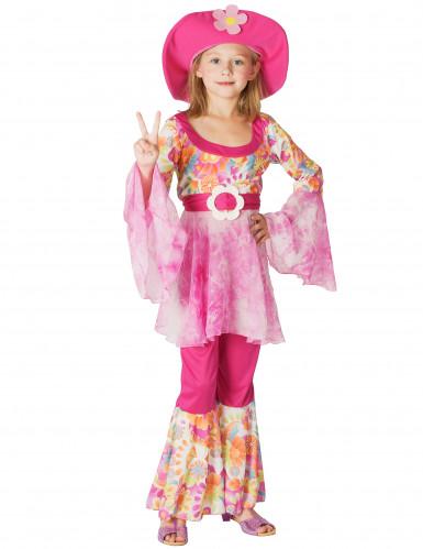 Costume hippie rosa con fiori per bambina