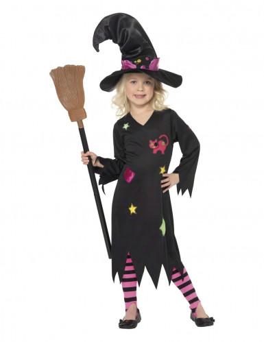 Costume da bambina strega gatto Halloween