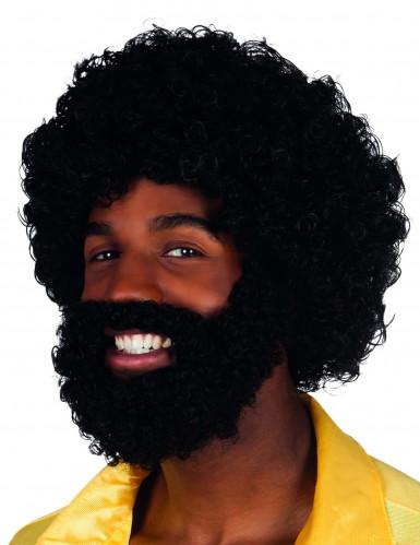 Parrucca afro con barba e baffi da uomo