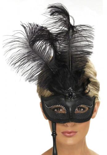 Maschera veneziana con piume nere da adulto