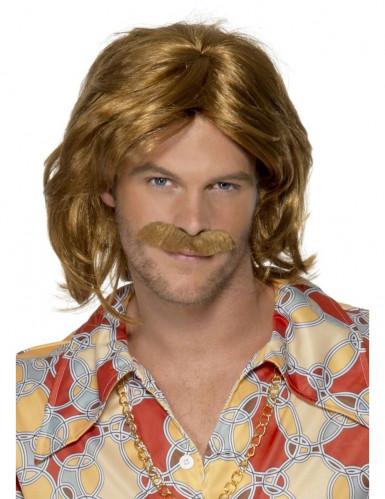 Parrucca e baffi da hippy per uomo