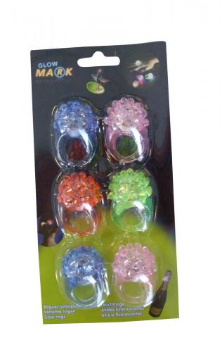 6 anelli multicolor luminosi per bambina