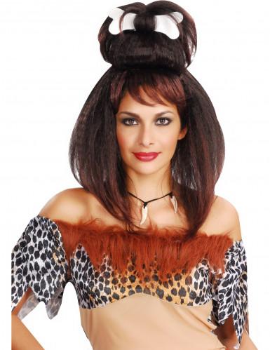 Parrucca donna preistorica con osso