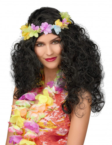 Parrucca nera con ghirlanda floreale hawaiana