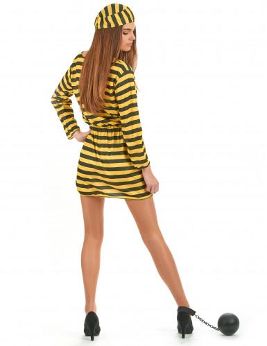 Costume da donna carcerata giallo e nero-2
