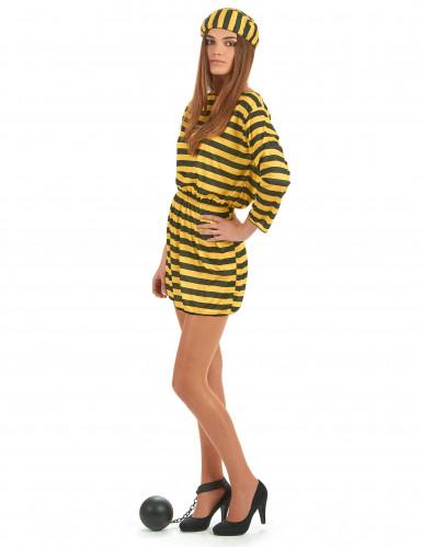 Costume da donna carcerata giallo e nero-1