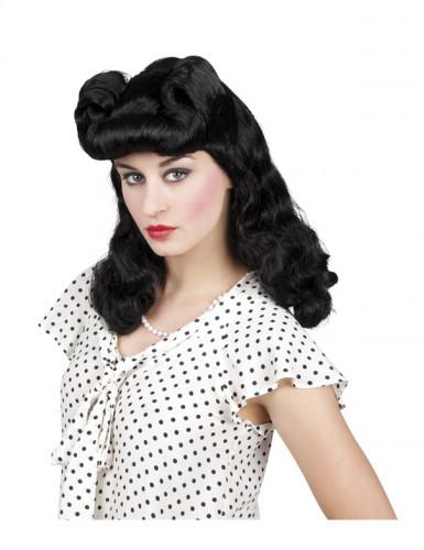 Parrucca nera ondulata da donna anni '50