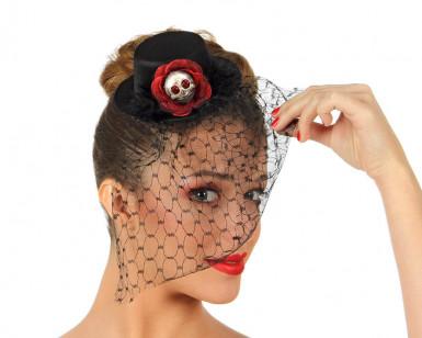 Mini cappello da donna con veletta e teschio per Halloween
