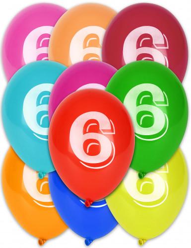 8 palloncini colorati con numero 6