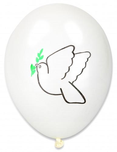 10 palloncini con stampa di colomba della pace