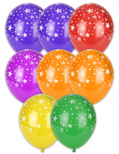 8 palloncini con stelle e stelline