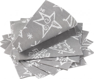 Confezione da 14 tovaglioli di Natale color grigio