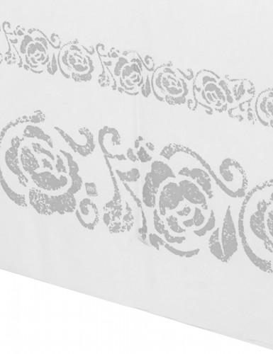 Tovaglia bianca con rose argento-1