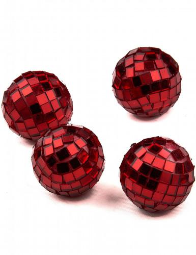 4 mini sfere sfaccettate rosse