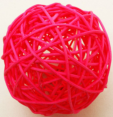 2 palle in vimini di colore fucsia 6 cm di diametro