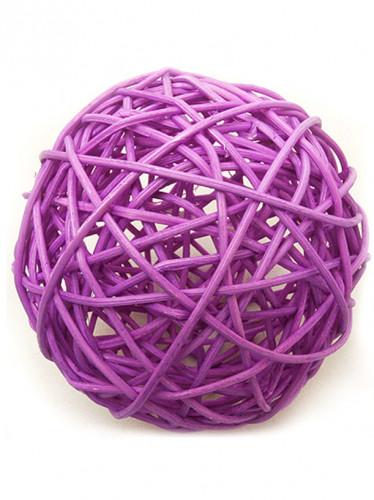 2 palle decorative in vimini color prugna  6 cm