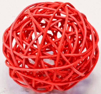 2 palle in vimini di colore rosso diametro 6 cm