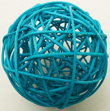 2 palle di vimini color turchese (diametro 6 cm)