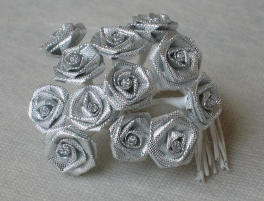 Sacchetto di 12 piccole rose lurex argento