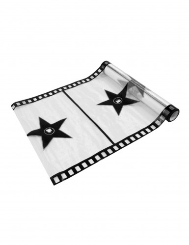 Runner da tavola bianco e nero in stile cinema