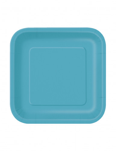 16 Piattini blu caraibico quadrati