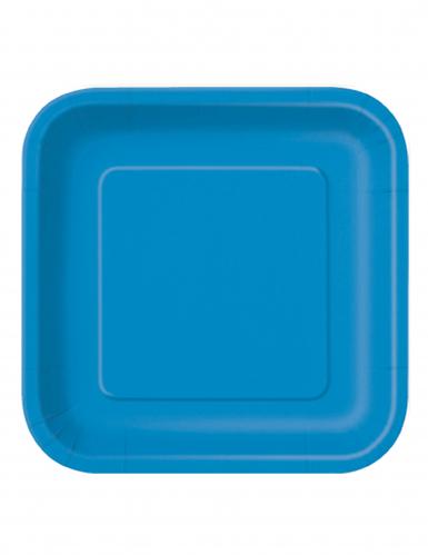 16 Piccoli piatti blu quadrati in cartone 18 cm