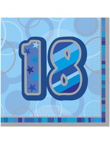 Confezione 16 tovaglioli colore blu 18? compleanno
