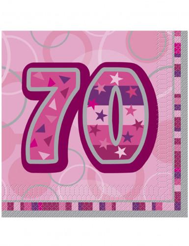 16 tovaglioli di colore rosa per 70 anni