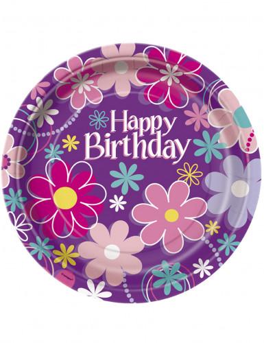 8 Piatti di carta Happy Birthday fiorati 23 cm
