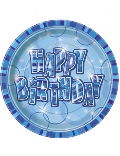 set da 8 piatti blu Happy birthday