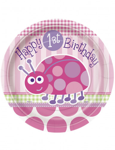 8 piatti di carta rosa First birthday