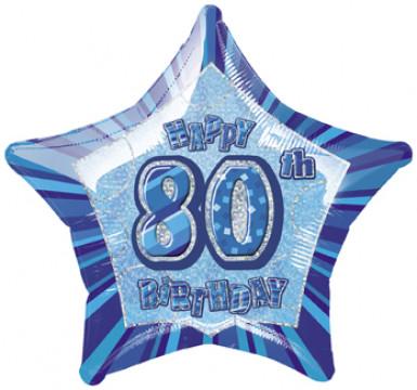 Palloncino blu a forma di stella per festeggiare 80 anni