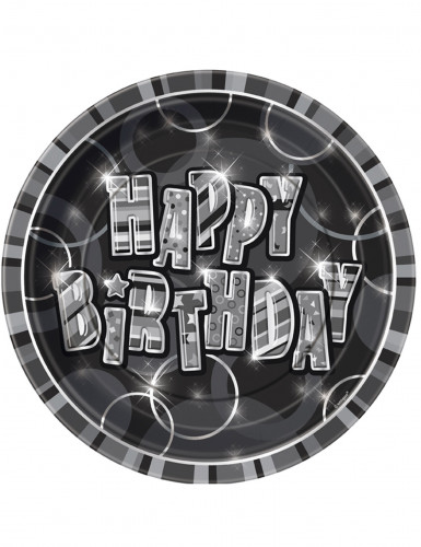 8 piatti color grigio Happy Birthday