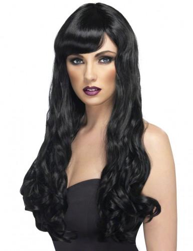 Parrucca lunga ondulata nera da Donna