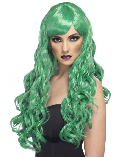 Parrucca lunga ondulata di colore verde da donna